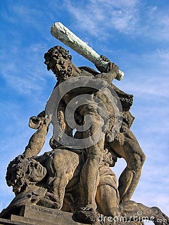 Battling Titan at the gate of Prague Castle