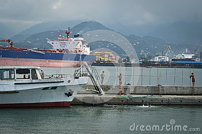 Batumi port Editorial Stock Image