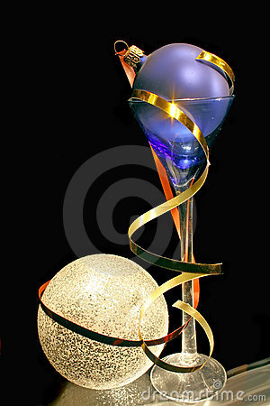 Bauble in a blue glass.