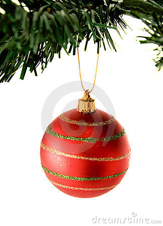 Bauble in red hanging from christmas tree