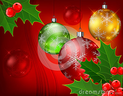 Baubles and berry on red background