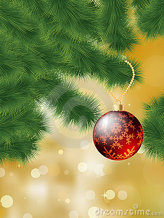 Baubles hanging on a christmas tree. EPS 8