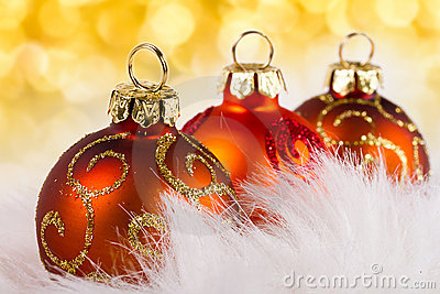 Baubles over abstract lights background