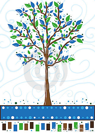 Baum in Blauem und in Grünem - Grußkarte