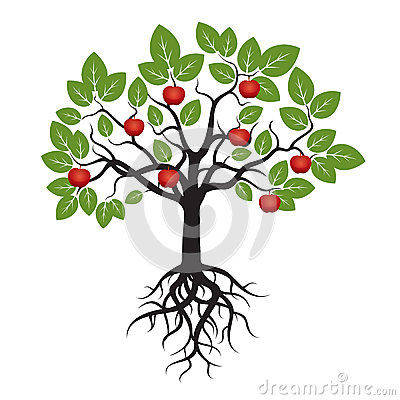 baum mit gr nen bl ttern wurzeln und rotem apple stock abbildung bild 55948702. Black Bedroom Furniture Sets. Home Design Ideas