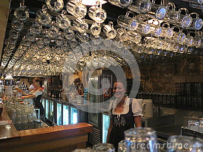 Bavarian pub interior with waitress Editorial Photo