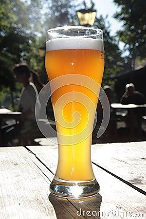 Bavarian beer in a beer garden