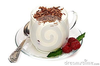 Bavarian cream with raspberries and chocolate.