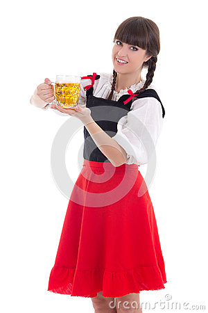 Bavarian girl with cup of beer