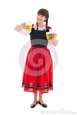 Bavarian girl with cups of beer