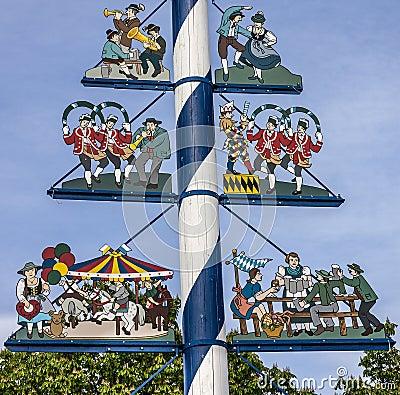 Free Bavarian Maypole On Viktualienmarkt, Munich, Germany. Symbols Of Stock Photo - 84607090