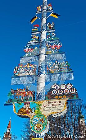 Free Bavarian Maypole , Viktualien Market, Munich. Stock Photos - 40063533