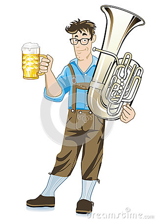 Bavarian musician with tuba