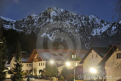 Bavarian village night scene