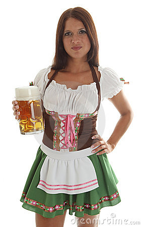 Bavarian waitress holding a Oktoberfest Beer Mug
