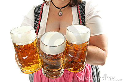 Bavarian Waitress with Oktoberfest Beer