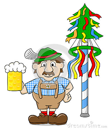 Free Bavarian With A Beer And Maypole Stock Photo - 70443660