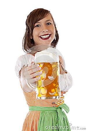 Bavarian woman holding oktoberfest beer stein