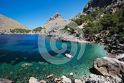 Bay with boat at Mallorca