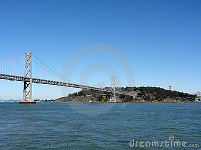Bay Bridge and Bay as Bridge enters into island