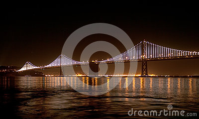 Bay Bridge with Bay Lights On Editorial Stock Photo