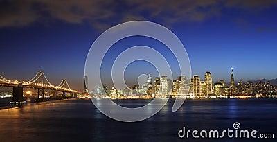 Bay Bridge and San Francisco Downtown at Christmas