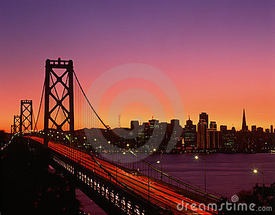 Bay Bridge at sunset, San Francisco, CA