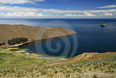 Bay of Lake Titicaca as seen from Isla del Sol