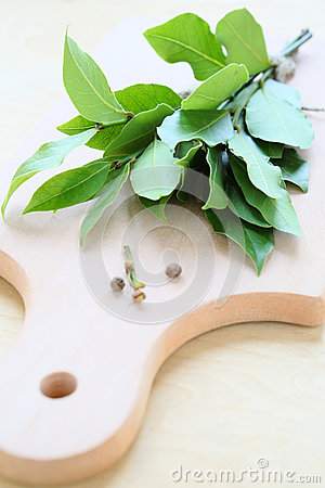 Free Bay Leaf On Cutting Board Stock Image - 35590731