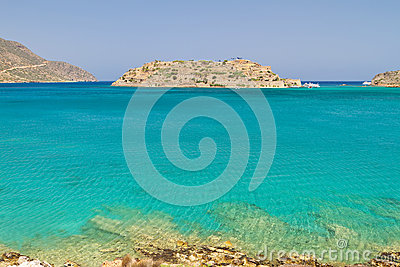 Bay with Spinalonga island on Crete