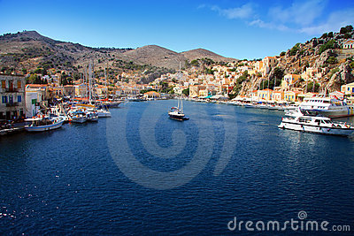 Bay on symi island, Greece