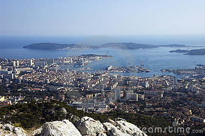 Bay of Toulon and city on french riviera