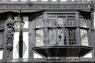 Bay window in Tudor building. Chester. England