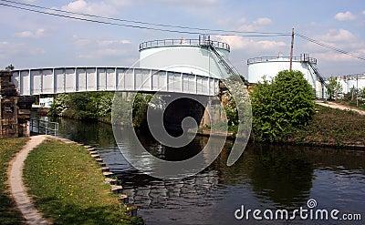 Bayford Thrust Leeds Storage Terminal across canal