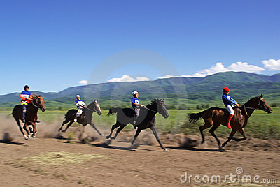Bayga - traditional nomad horses racing Editorial Photography