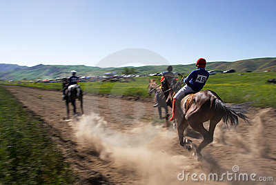 Bayga - traditional nomad horses racing Editorial Stock Photo