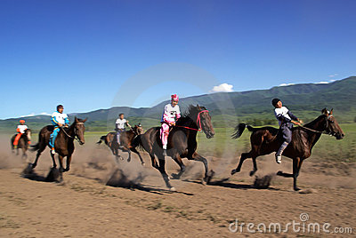 Bayga - traditional nomad horses racing Editorial Photography