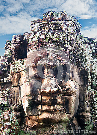 The Bayon Khmer temple at Angkor in Cambodia.