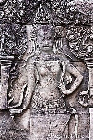 Bayon Temple Apsara Bas-Relief in Angkor
