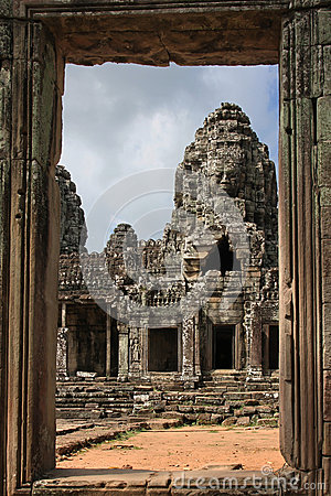 Bayon temple through the door