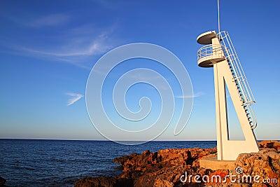 Baywatch white lookout tower in Mediterranean