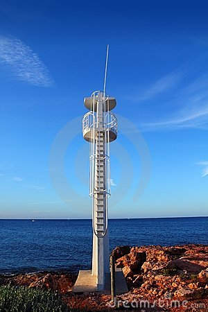 Baywatch white lookout tower in Mediterranean
