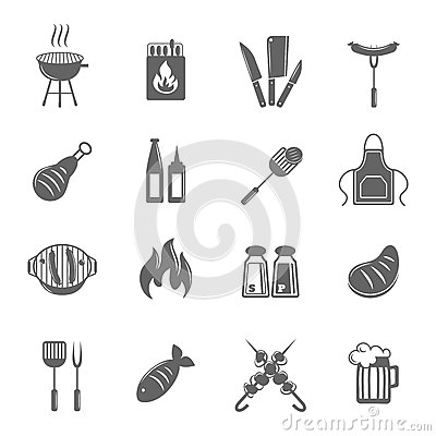 Free Bbq Grill Icons Set Royalty Free Stock Photo - 40679165