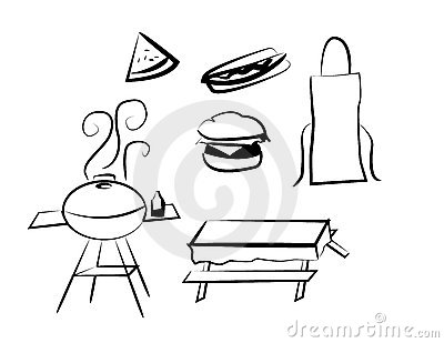 BBQ, Hamburger, Hot Dog, Watermelon, Apron, Table