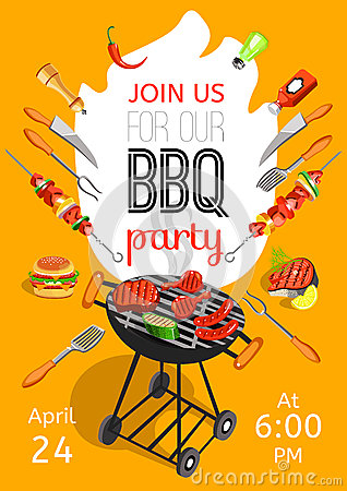 Free BBQ Party Announcement Flat Poster Royalty Free Stock Photo - 71359295