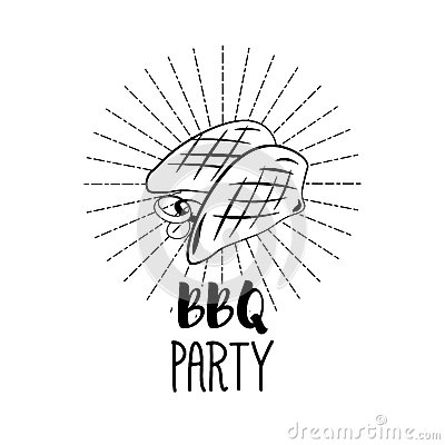 BBQ Party Badge. Chicken grill label. Vector illustration on white Vector Illustration