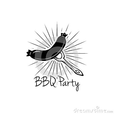 BBQ Party Badge. Grilled Sausage label. Vector illustration on white Vector Illustration