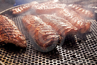 BBQ ribs grilled meat smoke fog barbecue