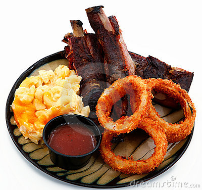 BBQ Ribs with Onion Rings and Macaroni and Cheese
