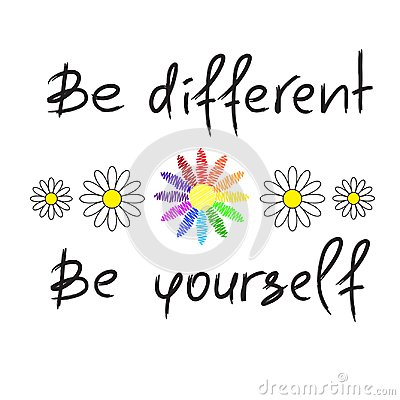 Free Be Different, Be Yourself - Handwritten Motivational Quote. Print For Inspiring Poster, Royalty Free Stock Photo - 116950165